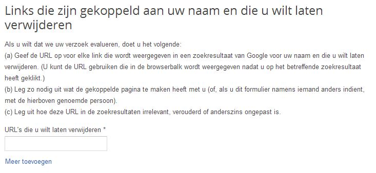 Formulier Google 'Recht om vergeten te worden'